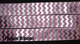 pink and silver chevron grosgrain ribbon - Flippin Ribbon