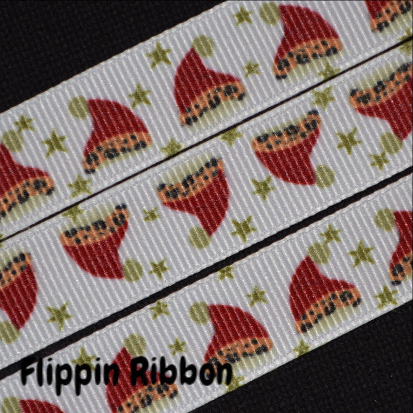 Santa hat grosgrain ribbon - Flippin Ribbon