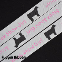 steer or heifer stock show girl grosgrain ribbon