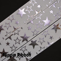 wide silver star grosgrain ribbon - Flippin Ribbon