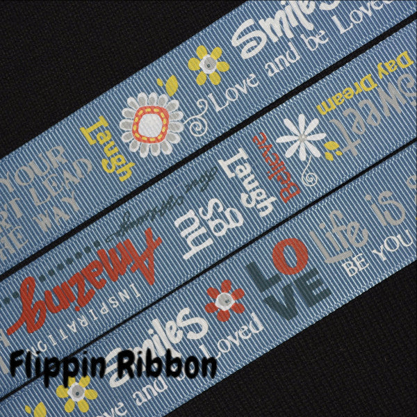 inspirational smiles grosgrain ribbon - Flippin Ribbon