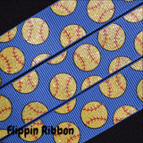 blue sparkle softball grosgrain ribbon
