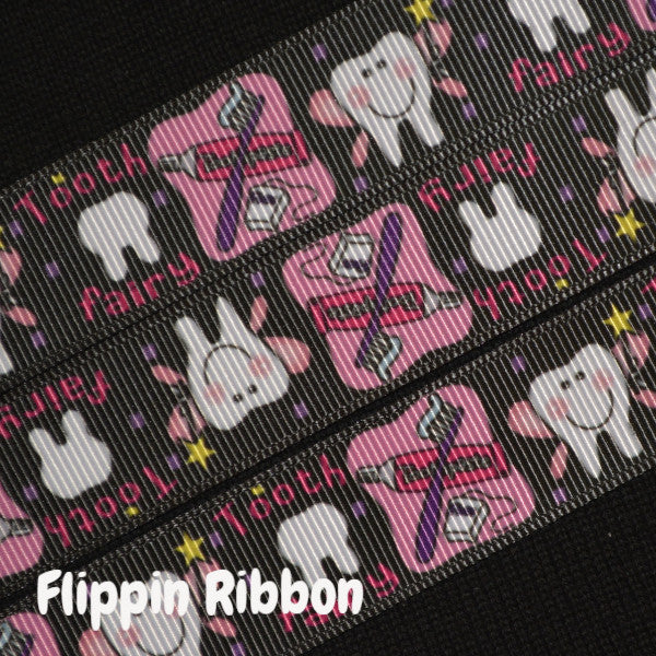 tooth fairy printed grosgrain ribbon