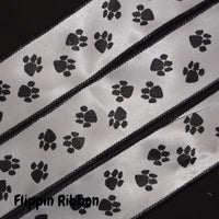 wired satin paw print ribbon