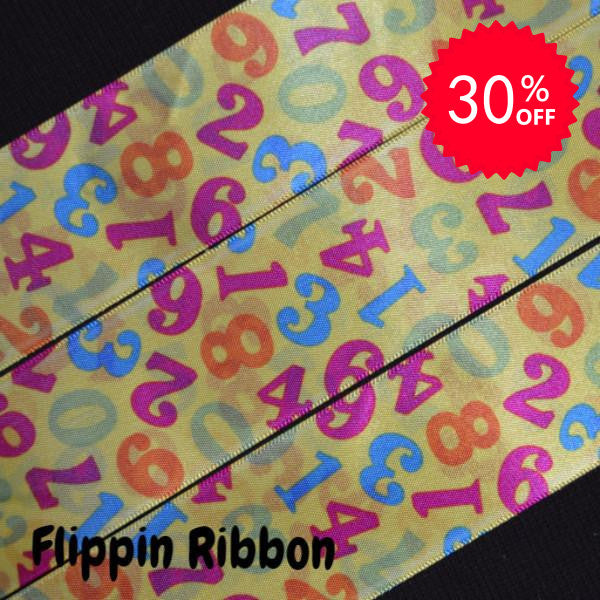 Numbers Ribbon - 1 1/2 inch Printed Satin