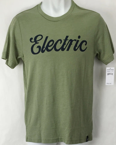 NEW Electric Cursive Green Mens Medium Snow Skate Cotton Tee Shirt Msrp$22
