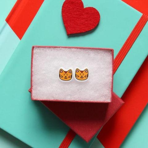 Ginger cat earrings