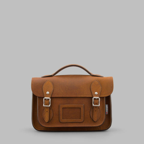 Small Leather Satchel - in Brown