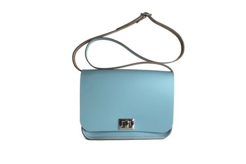 FrontSide Front Strap FrontSide  Pixie Bag (Medium-Sized Crossbody Bag) made from Baby Blue Leather