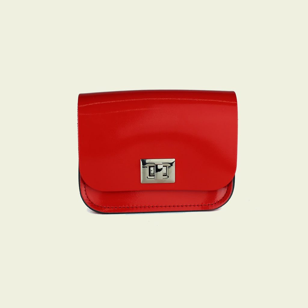 Pixie Bag (Small Crossbody Bag) made from Patent Rosy Red Leather