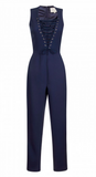 NAVY LACE UP PLUNGE TAPERED LEG JUMPSUIT
