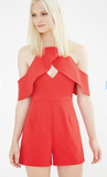 RED OPEN SLEEVE STRUCTURED PLAYSUIT