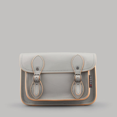 Small Leather Satchel in Grey