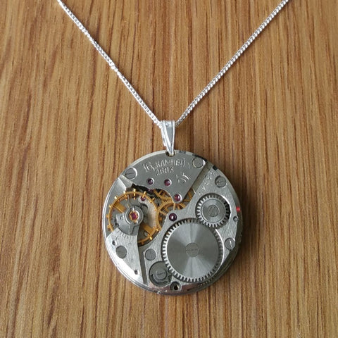 Sterling Silver Watch Movement Necklace