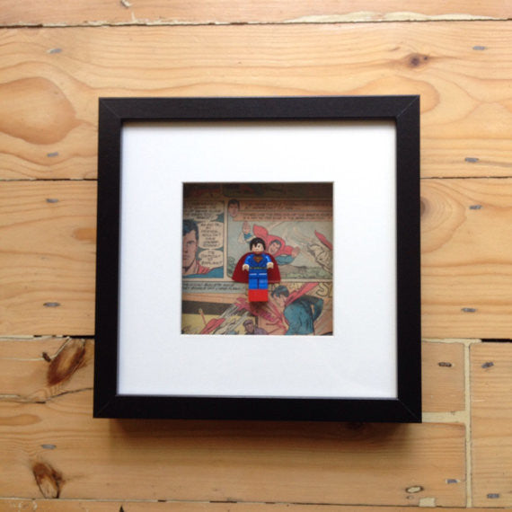 Superman on Lego brick with comic background wall art.