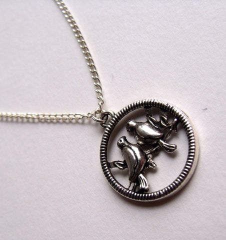 This Material Culture | Silver Lovebirds Necklace