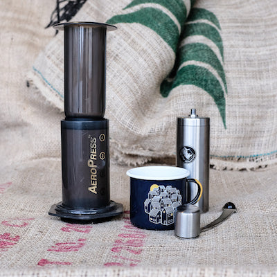 Aeropress, Hand Grinder, and Enamel Mug Set