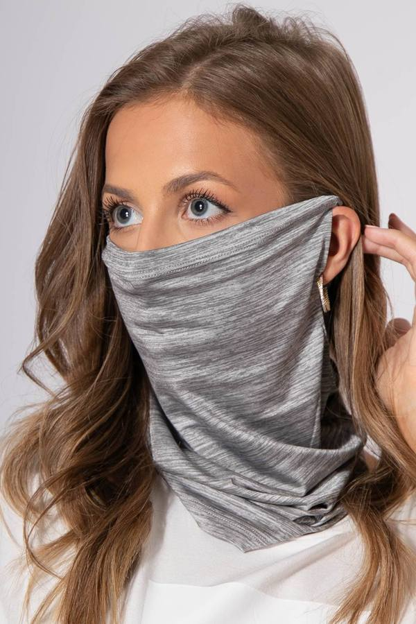 Reusable Silver Face Cover Scarf With Ear Loops