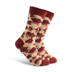 Red Camo Socks. Maroon. Military. Army.