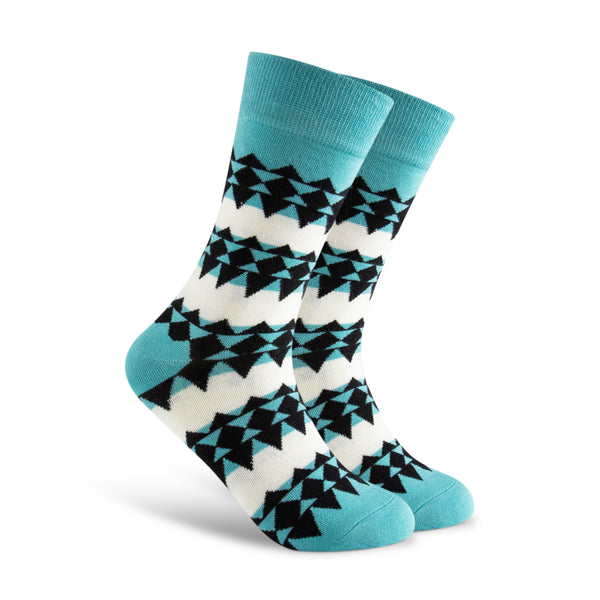 Blue chevron socks. Abstract illusion geometric.