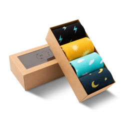 Men's Socks Collection with Lightning Bolts, Sun, Clouds and Moons. Sky Collection Perfect for the Office. Gift Idea.