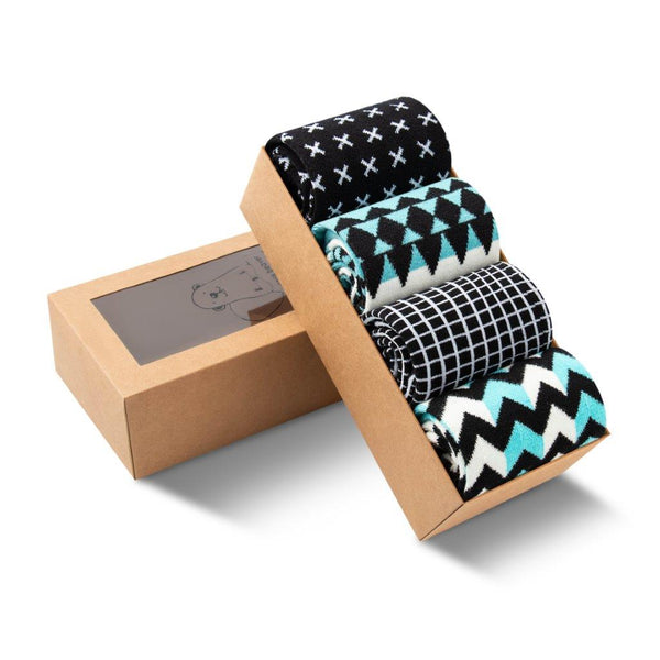 Men and Women's Sock Bundle of Four. Comfortable and Cozy. Abstract. Geometric. Grid, Chevron. X and O. Zig Zag.