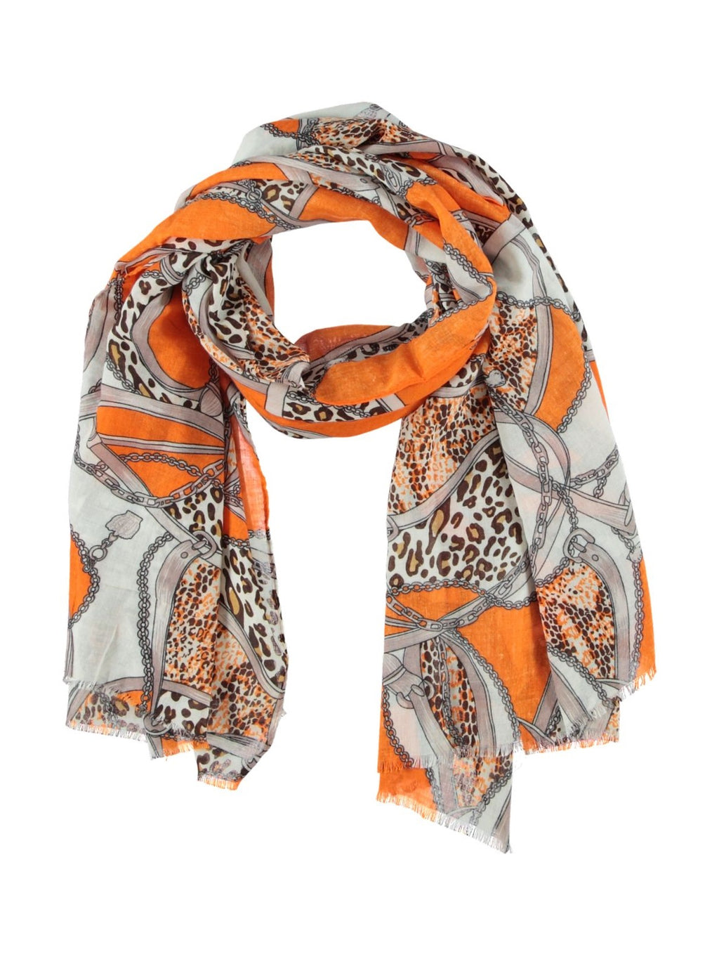 sjaal shawls scarf tijgerprint luipaard leopard chain ketting oranje musthave it all musthaves