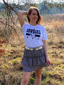 t-shirts wit met zwarte tekst cowgirl musthave it all the label