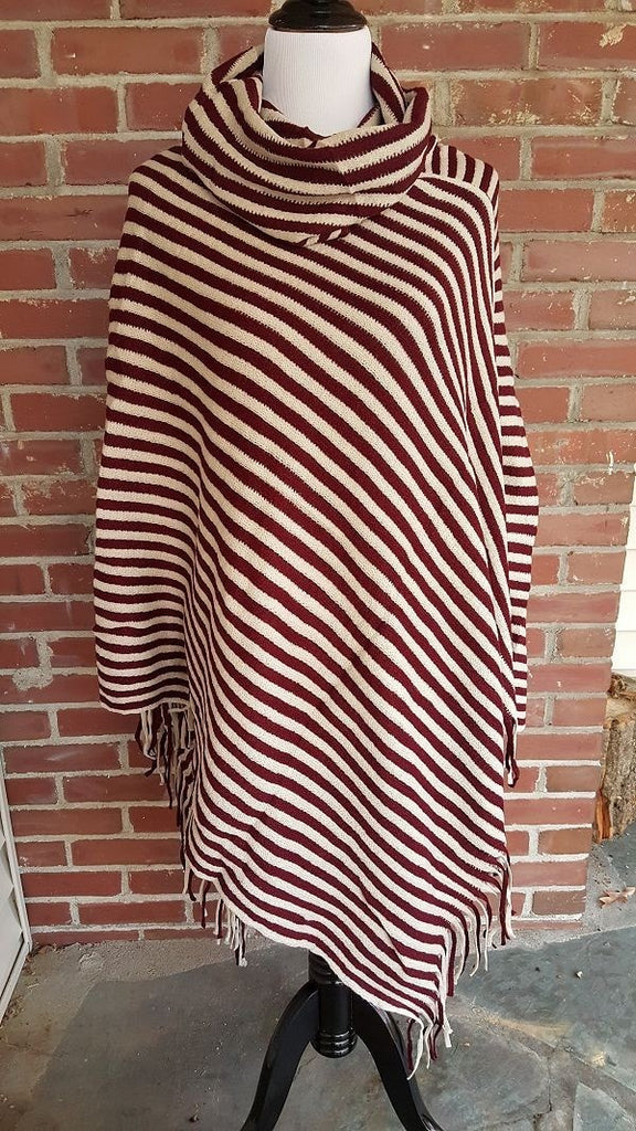 Drape neck striped poncho