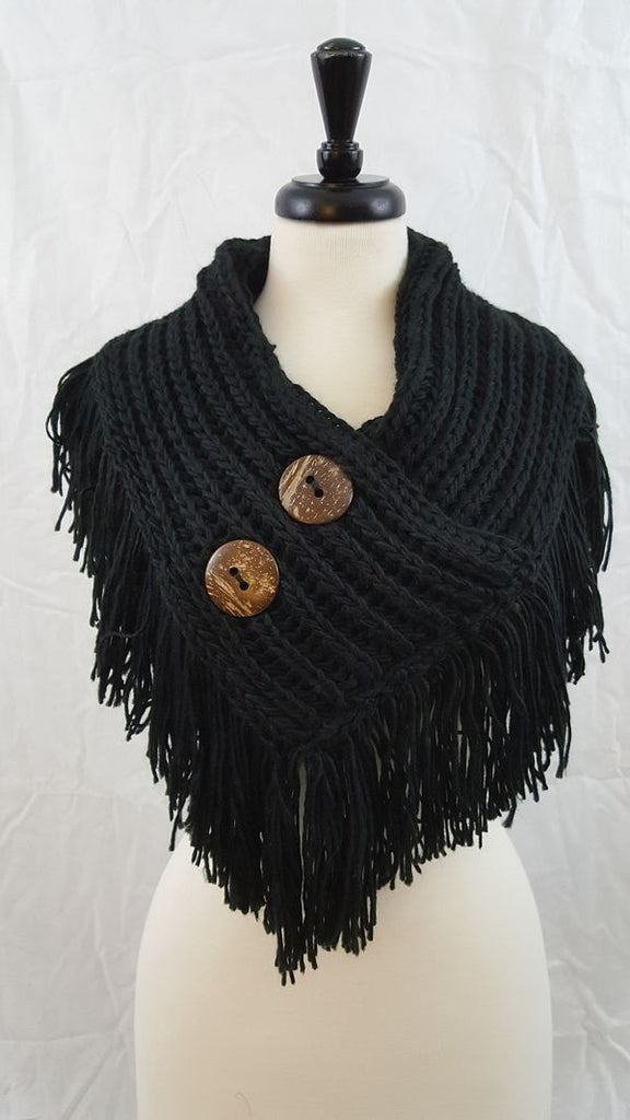 Two button fringed capelet