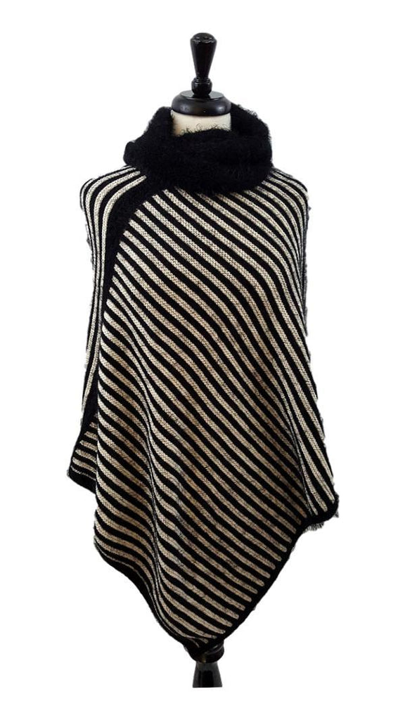 Fuzzy striped poncho