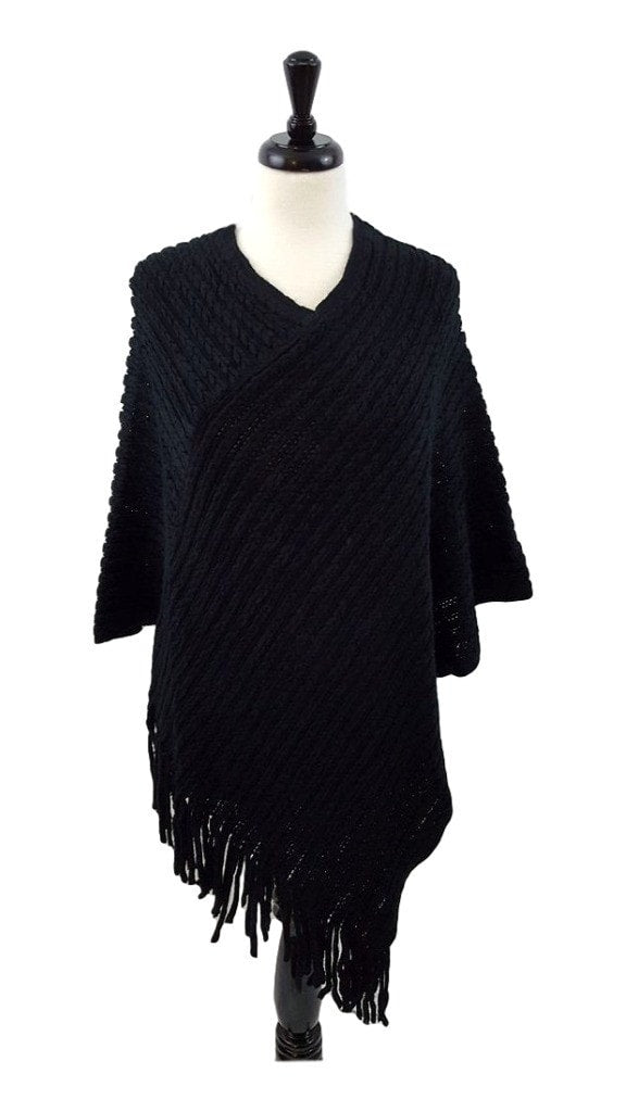 V-neck knit poncho