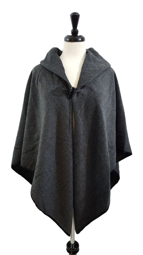 Herringbone toggle poncho