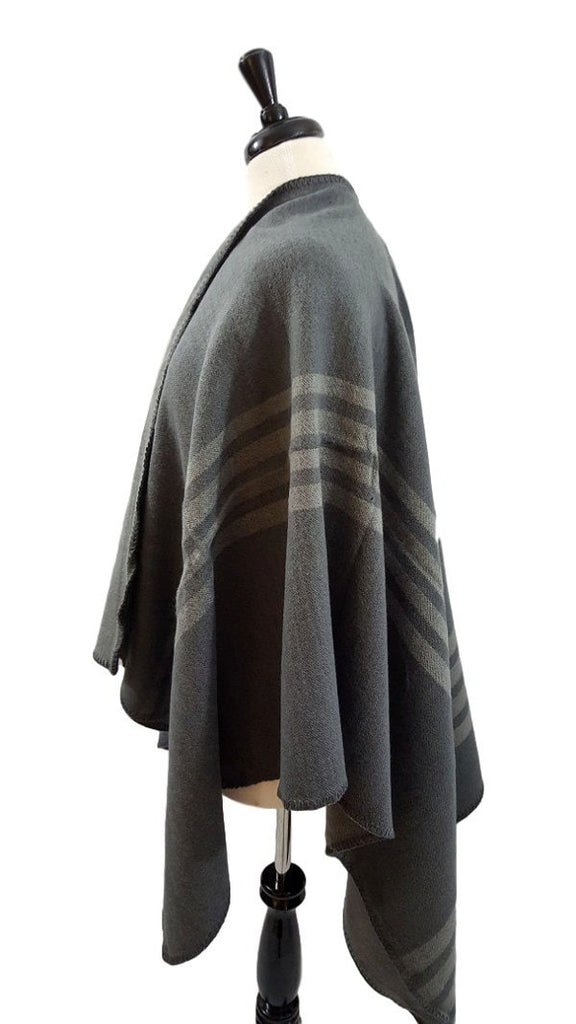 Grey striped blanket ruana