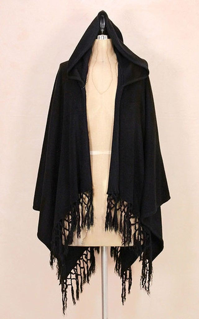 Hooded knit shawl