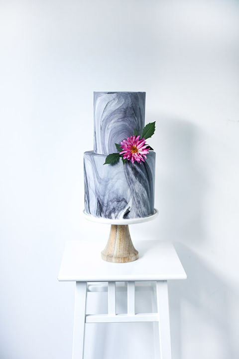 Two Tier Marble Cake with Pink Flower