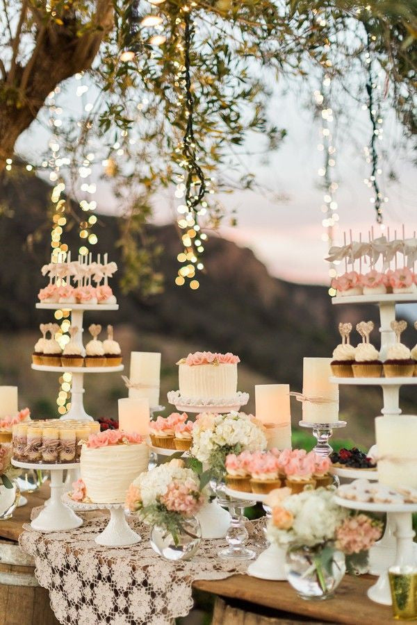Sunset Fall Wedding with a Dessert Table