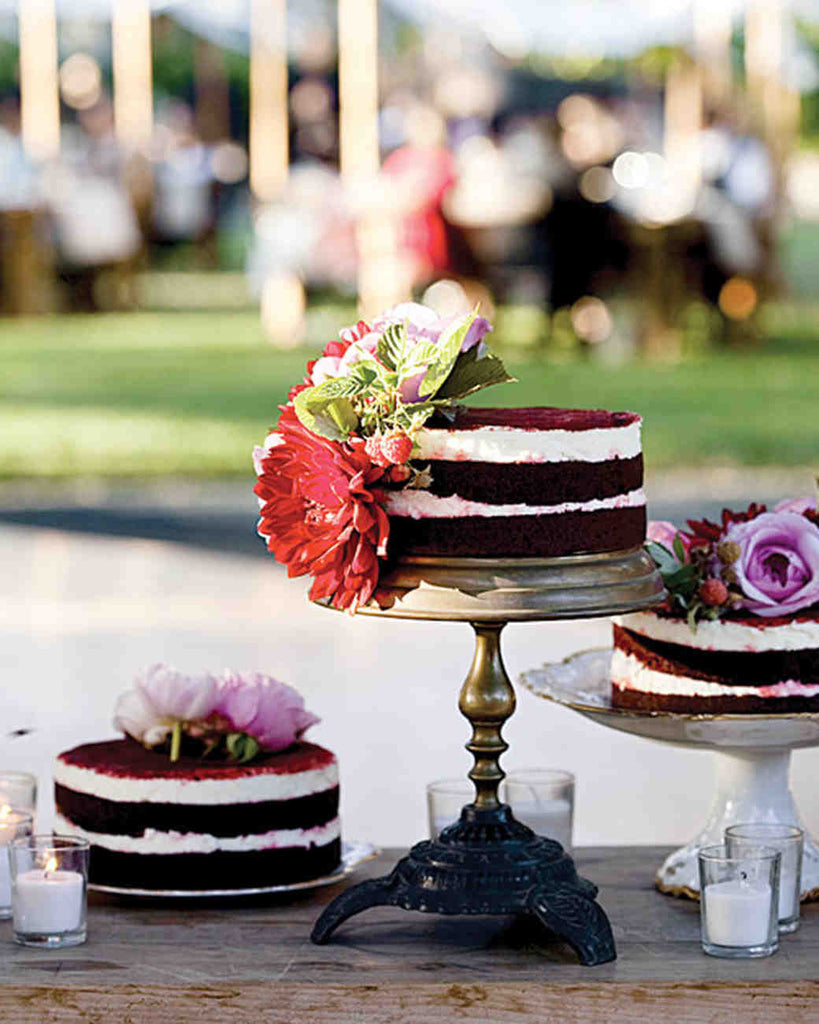 Chocolate cake on a beautiful wedding dessert table