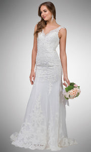 Dancing Queen - 20 Scalloped Lace Trumpet Bridal Dress In White & Ivory