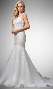 Dancing Queen - 86 Embroided Trumpet Bridal Gown In White