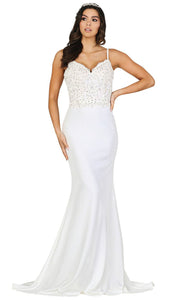 Dancing Queen - 120 Sleeveless Sweetheart Trumpet Gown In White