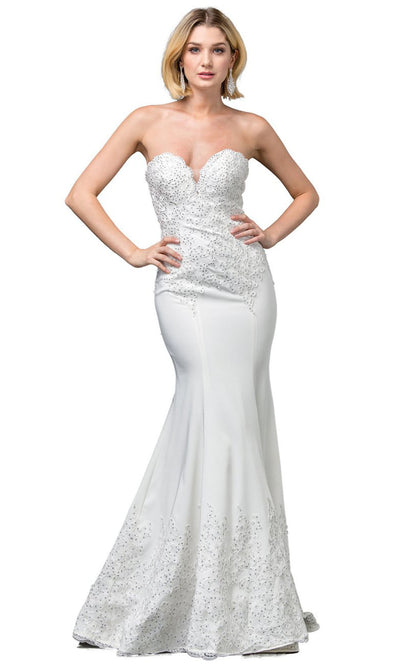 Dancing Queen - 136 Embellished Sweetheart Trumpet Gown In White