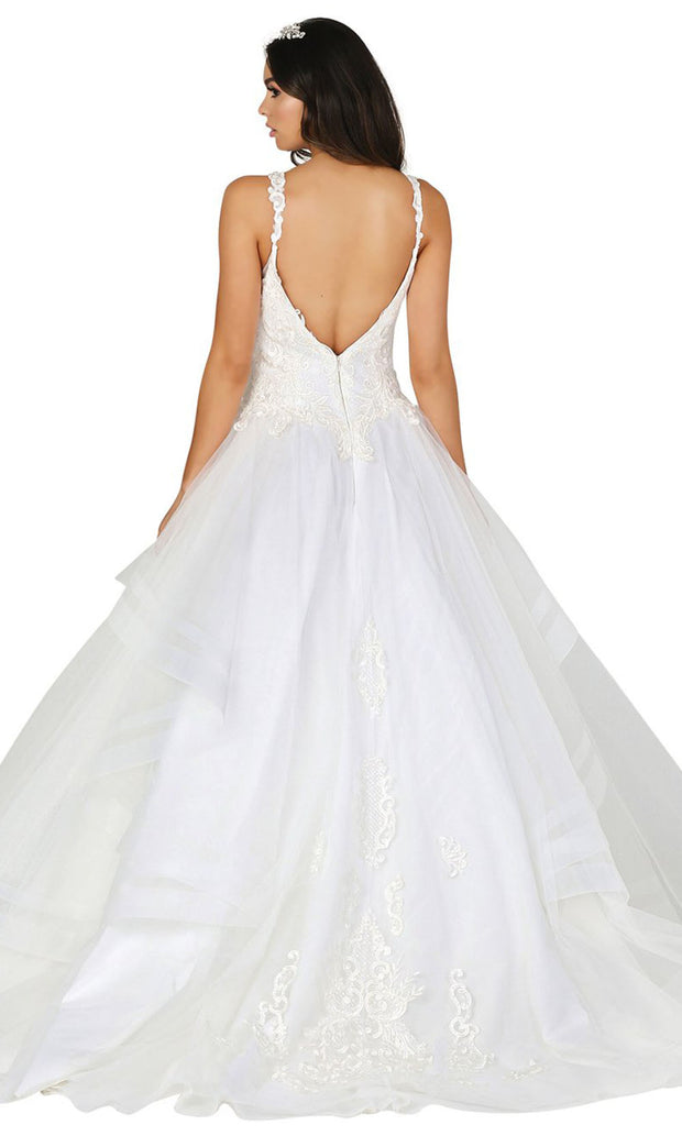 Dancing Queen - 152 Sleeveless Embroidered Bridal Dress In White