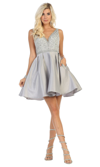 May Queen - MQ1645 Beaded V Neck Cocktail Dress In Silver