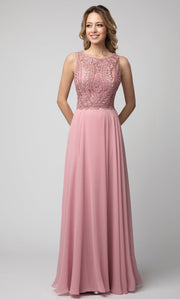Juno - 924 Embroidered Chiffon A-line Gown In Pink
