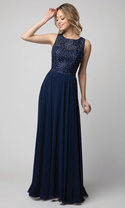 Juno - 924 Embroidered Chiffon A-line Gown In Blue
