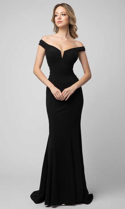 Juno - 925 Metallic Ornate Illusion Side Dress In Black