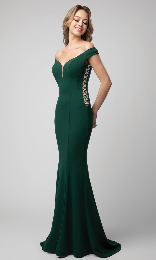 Juno - 925 Metallic Ornate Illusion Side Dress In Green