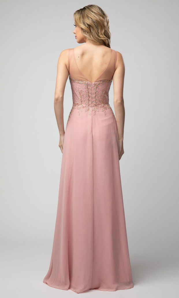 Juno - 926 Beaded Sleeveless V-Neck A-Line Chiffon Gown In Pink