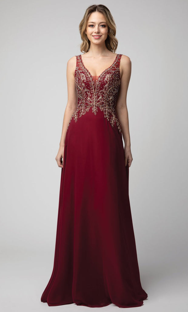 Juno - 926 Beaded Sleeveless V-Neck A-Line Chiffon Gown In Burgundy